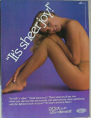 Semi Nude Model Sheer Lycra Hosiery Stockings Pantyhose Vtg Magazine Print Ad