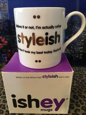 "ishey mug. ""Styleish"" Designed In England. New In box."
