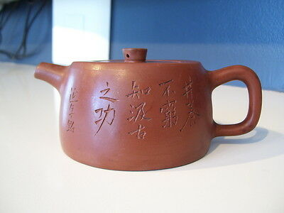Vintage Yixing Zisha Chinese Pottery Teapot with Calligraphy Signed
