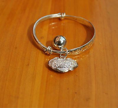`1 Silver Plated Adjustable Dangle Bell Baby, Child Bangle Bracelet 4cm ID