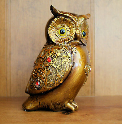 Small Decorative Brown OWL Figurine Statue with gold and color stones