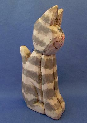 Hand Carved Wood Striped Gray Cat Sculpture