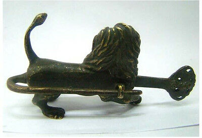 Chinese old style Brass Carved lion lock and key
