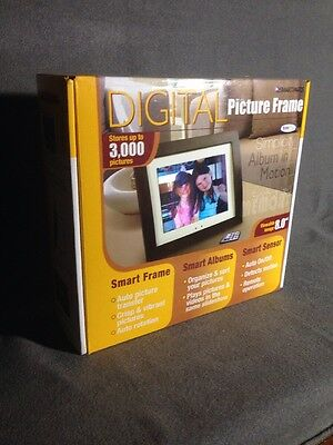 "Digital Picture Frame 8"" - Smartparts Wood Frame w/ Remote Plays Music !!"
