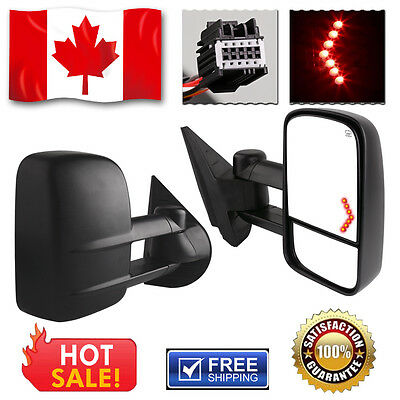 Towing Mirrors for 07-14 Chevy Silverado Extendable  Heated Power LED Turn Light