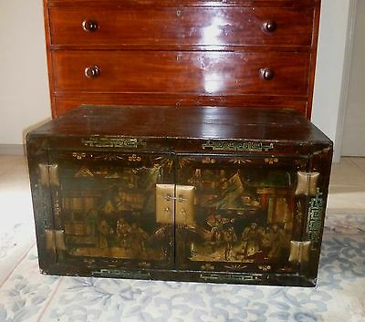 Antique Chinese 19thC Chinoiserie black lacquer cabinet / cupboard - elm
