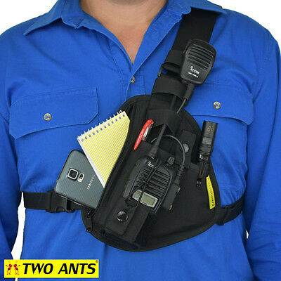 Radio Holster Chest Harness UHF - Left - Black - Two Ants Pharaoh CT100SLBK