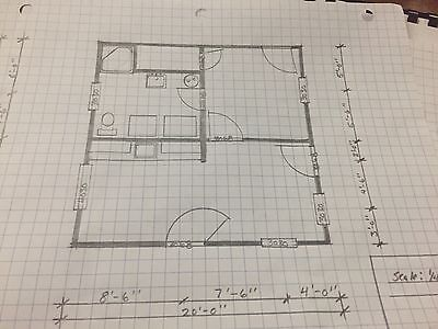 20x20 Cabin House Plans 400 square Feet. Blueprint package