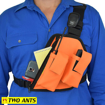 UHF Radio Holster Chest Harness, Left, Enclosed, Double - Two Ants Trap Jaw