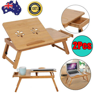 Adjustable Bamboo Laptop Desk Notebook Stand Table Sofa Bed Multi Function 2PCS