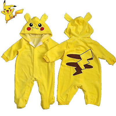 Pikachu Baby Newborn Hoodies Romper Jumpsuit Playsuit Boys Girls Clothes Outfit