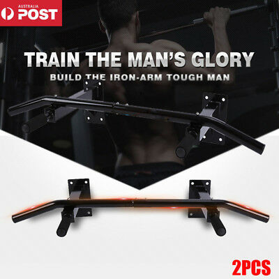 2PCS Wall Mounted Pull Up Chin Up Bar Power Strength Training Workout Gym Home