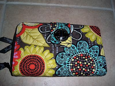 Vera Bradley Flower Shower Turn Lock Wallet