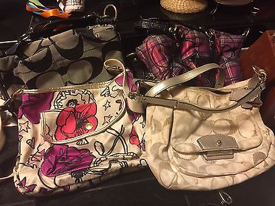Lot Of 4 Used Coach Purses IUC GUC poppy Signature Authentic Black Tan Colorful