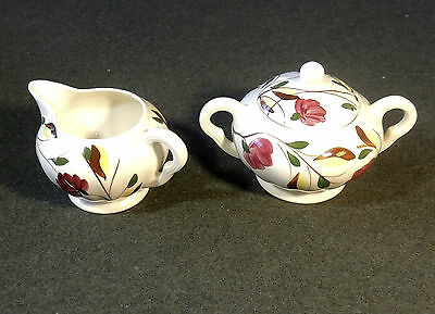 Blue Ridge Southern Potteries Hand Painted Laura Lidded Sugar Bowl & Creamer EUC