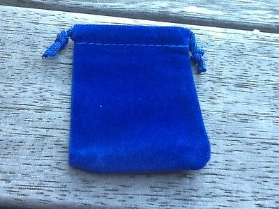 Small Blue Velvet Jewellery Pouch