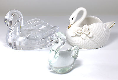 3 Swan Figurines - Porcelain Glass Plastic - Lot
