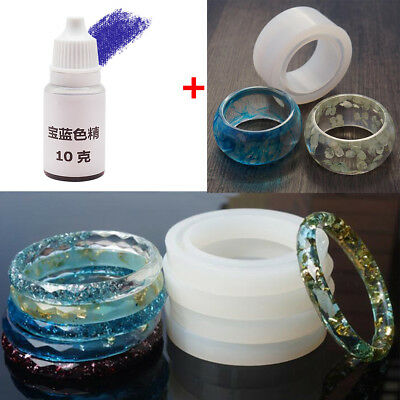 58mm Round Silicone Mold Bracelet Jewelry DIY +10g UV Resin Dye Colorant Pigment