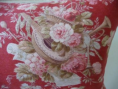 Antique French Fabric Pillow French Textile French Linen Pink Rose Fabric