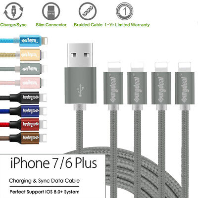 4-Pack 2M Braided Charger USB Data Sync Cable Cord For iPhone 5S SE 6S 7 Plus