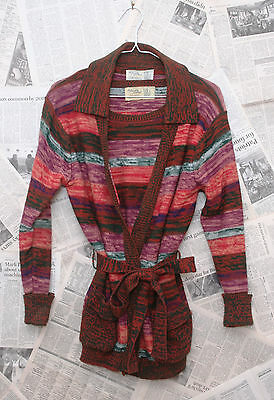 Vintage 70's A Quality Product Hippie Boho Two Piece Belted Wrap Sweater Set