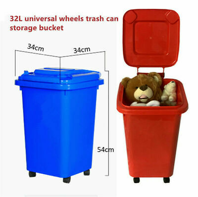 32L Wheelie Mini Bin Rubbish Trash Trolley Lid Dustbin