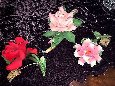 Capodimonte Red & Pink Roses , Iris Flower - Green Leaves, Brown Branches