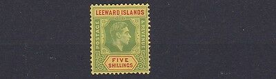 Leeward Is 1938  S G 112      5/-  Green & Red  Mh Toned Gum