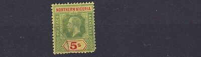 Northern Nigeria 1912 Sg 50  5/- Green & Red Yellow Used C£85 Short Corner Perf