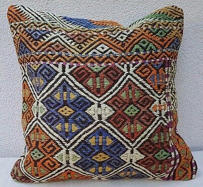 Faded Kilim Pillow Vintage Large Cushion Cover Antique Pillows Sofa Art 19 x 19""