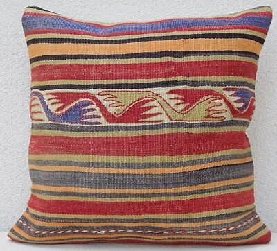 20'' X 20'' Area Rug Kilim Pillow Cover, Large Decorative Couch Cushion 50 X 50
