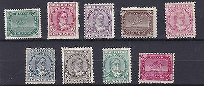 Cook Is 1902  S G 28 - 36  Set Of 9  To 1/-  Mh Cat £170 Poor Back To 2D