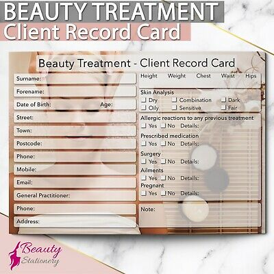 Beauty Client Record Card NEW - PREMIUM Treatment Consultation Beauty Salons A6
