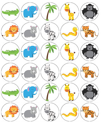 30 x Zoo Animals Edible Cupcake Toppers Wafer Paper Fairy Cake Topper