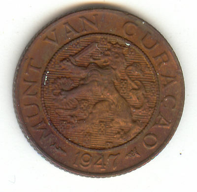 Netherlands Curacao 1947 One Cent Red/brown