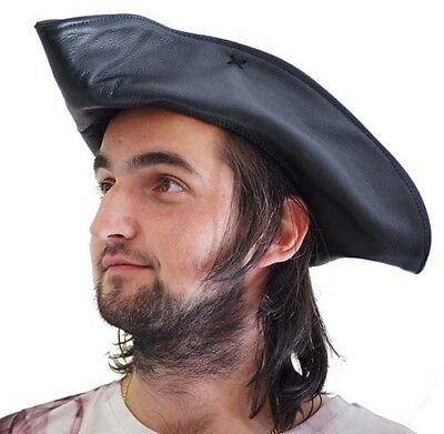 Pirate-Buccaneer-Poldark-LARP-SCA JACK SPARROW/POLDARK LEATHER TRICORN HAT