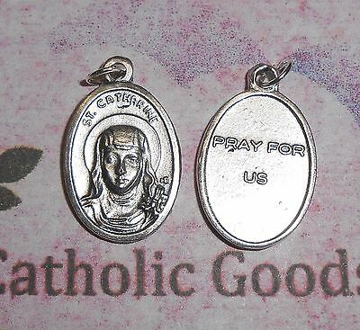 "Saint St. Catherine of Sienna / Pray for Us - Ox Silver Tone Italian 1"" Medal"