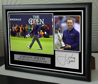 Jordan Spieth The Open 2017 Golf Framed Canvas Tribute Print Signed Great Gift 2