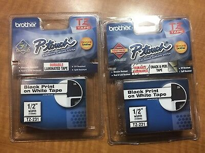"NIB - 2 Pack Brother P-Touch TZ-231 1/2"" Black Print on White Label Tape"