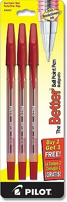 Pilot The Better Ballpoint Stick Pens, Fine Point, 2-Pack, Red Ink 35007
