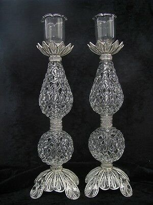 925 Sterling Silver Yemenite Filigree Judiaca Candlesticks Candle Holder