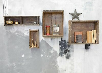 Reclaimed Antique Industrial Wood Brick Box Crate Floating Wall Shelf Shelving