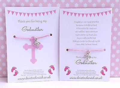 Thank You for being my GODMOTHER Wish Bracelet - Christening / Baptism Gift