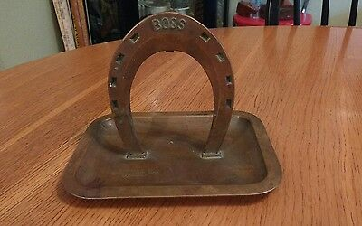 VTG RARE WHITEHEAD & HOAG BRYDEN HORSE SHOE Co. Copper candy dish Business card-