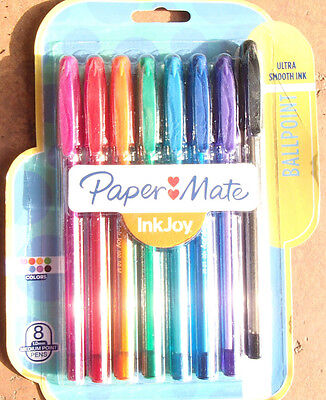 Paper Mate InkJoy 100ST Ballpoint Pens, Medium Point, Assorted Ink, 8 Pack New