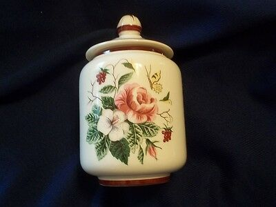 Edwin Knowles Sugar Bowl & Lid Pink Rose Yellow Butterfly Maroon Band