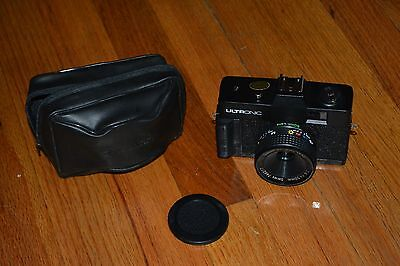 Vintage ULTRONIC 35MM CAMERA with 50mm lens & Lens Cap & Leather Case