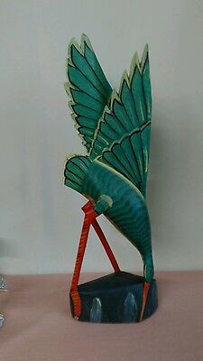 """Large 24"""" Hand Painted Carved Wood Bird"""
