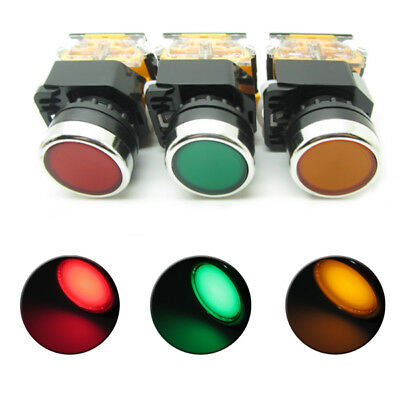Push Button Switch LED Indicator Light Red Green Yellow Momentary Latching DPDT