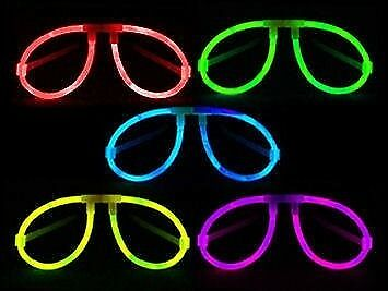 10 Pezzi Multi Pack Occhiali Luminosi Aviatore Fluo Party Colori Assortiti